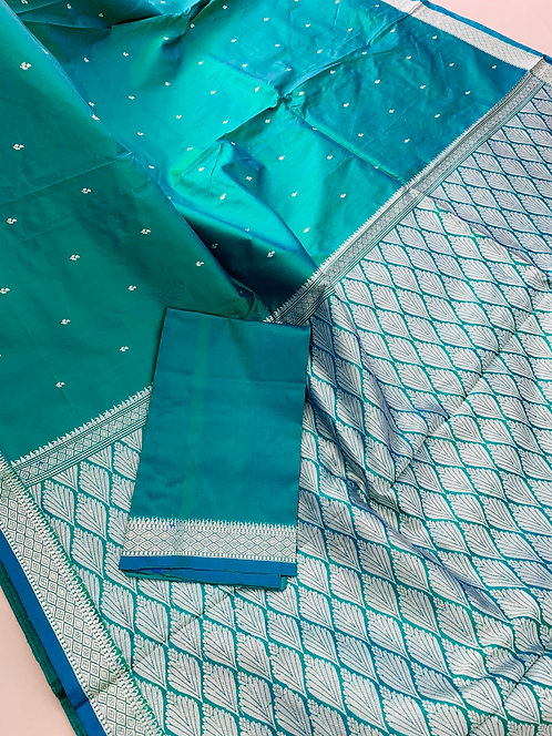 Pure Banarasi Katan Silk Saree in Peacock Green and Silver
