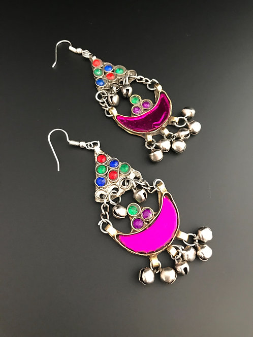 Afghan Earrings with Purple Glass Stone