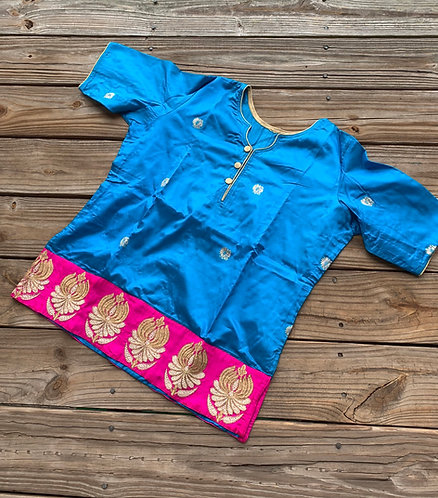 Turquoise Blue and Magenta Pure Banarasi Silk Waist Length Blouse, in Size 38