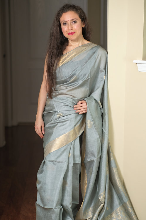 Tussar Silk Saree in Silver Gray and Gold