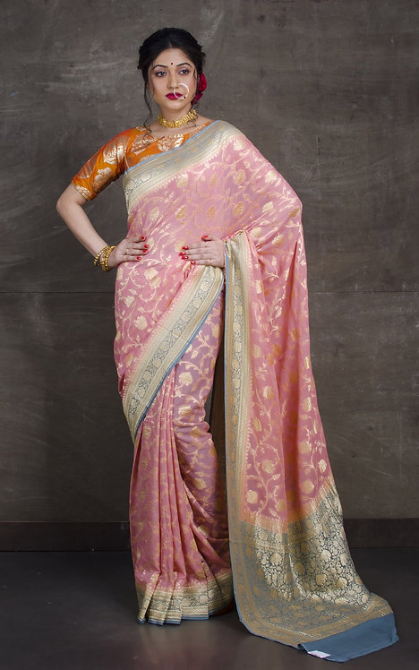 Pure Khaddi Georgette Jaal Banarasi Saree in Baby Pink and Gray