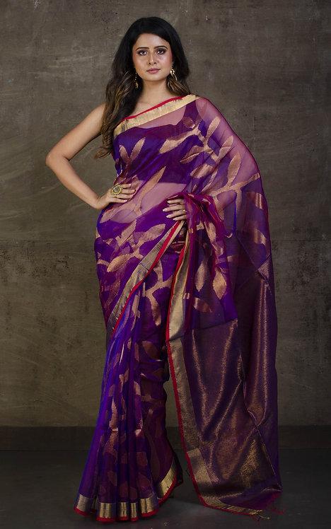 Muslin Silk Jamdani Saree in Purple, Red and Antique Gold
