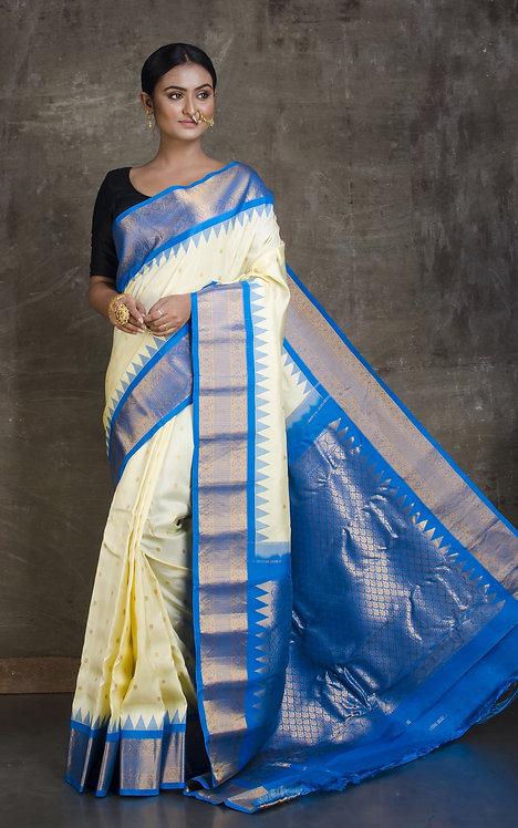 Gadwal Silk Saree in Butter Cream and Blue