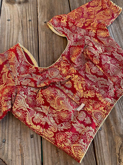 Maroon Banarasi Silk Blouse in Size 34