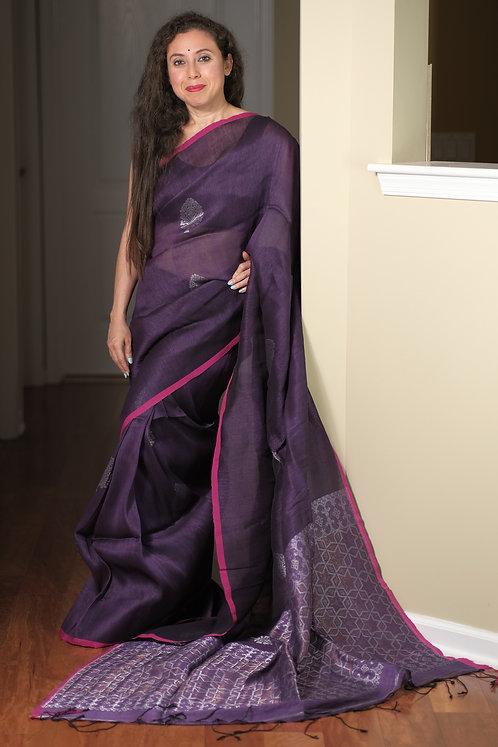 High Thread Count Silk Linen Saree in Dark Mauve and Silver