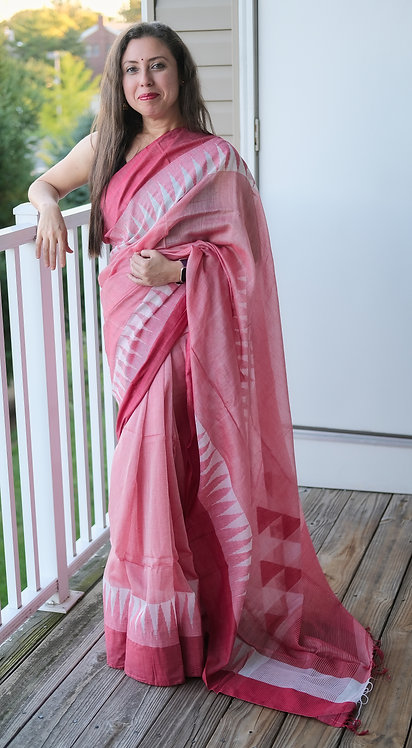 Temple Border Khadi Soft Cotton Saree in Red and White