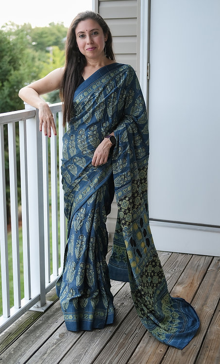 Ajrakh Saree on Modal Silk with Natural Dye in Dusty Blue