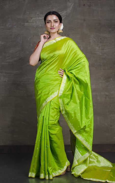 Pure Katan Banarasi Saree in Bright Green and Silver