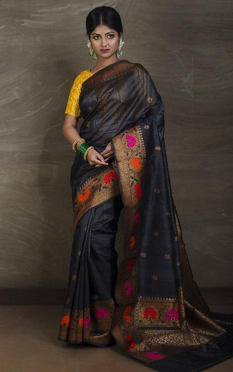 Minakari Pure Tussar Banarasi Saree in Black and Antique Gold