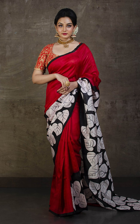 Printed Pure Silk Saree Dark Red, Off White and Red