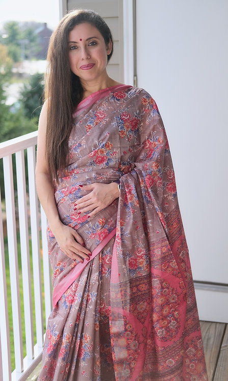 Block Printed Floral Linen Cotton Saree in Gray and Pink