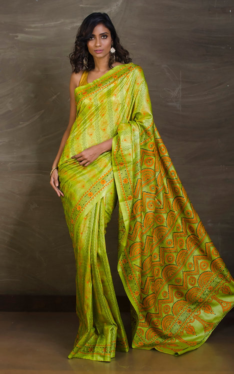 Pure Hand Embroidered Kantha Stitch Saree on Pure Silk in Bright Green
