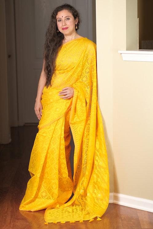 Soft Jamdani Saree in Bright Yellow