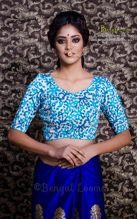 Batik Printed Silk Cotton Blouse in Off White and Turquoise, Size 32