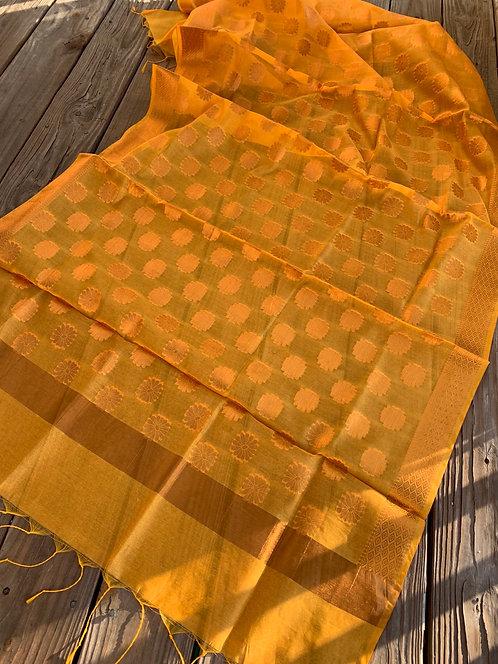 Chanderi Cotton Banarasi Dupatta in Yellow and Gold