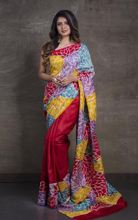 Contemporary Batik Pure Silk Saree in Red