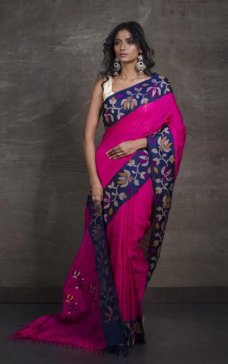 Premium Quality Kadiyal Matka Tussar Jamdani Saree in Pink and Blue
