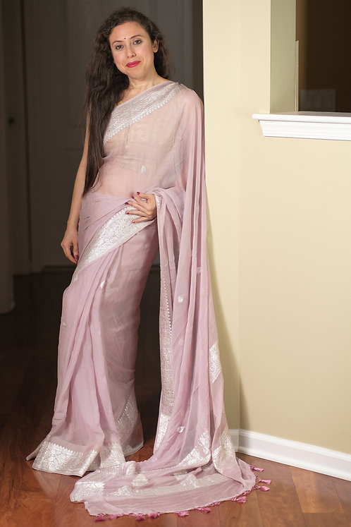 Pure Chiffon Banarasi Saree with Silver Zari in Dusty Mauve