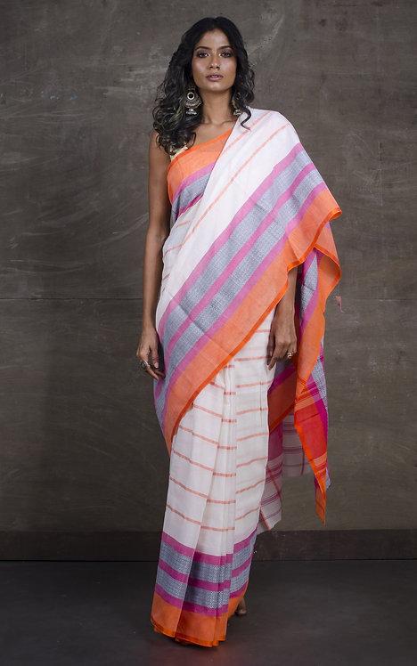 Bengal Handloom Designer Soft Cotton Saree in Off White, Pink and Orange
