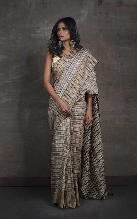 Pure Soft Ketia Tussar Saree in Beige and Black