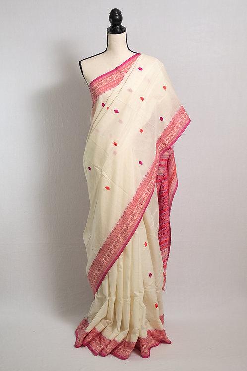 Soft Cotton Saree in Off White, Pink and Orange