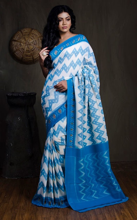 Mercerized Cotton Pochampally Saree in Blue and White