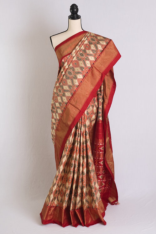 Pochampally Double Ikat Saree in Off White, Black and Red