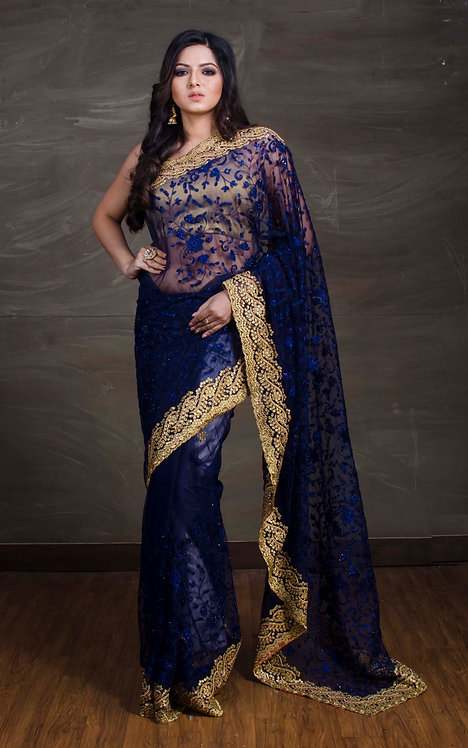 Embroidery Soft Net Saree in Dark Blue and Gold