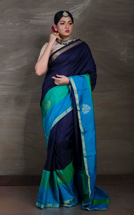 Pure Kanchipuram Silk Saree in Dark Blue