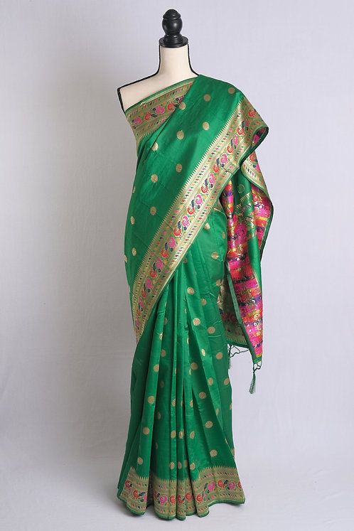 Art Silk Paithani Saree in Green and Gold