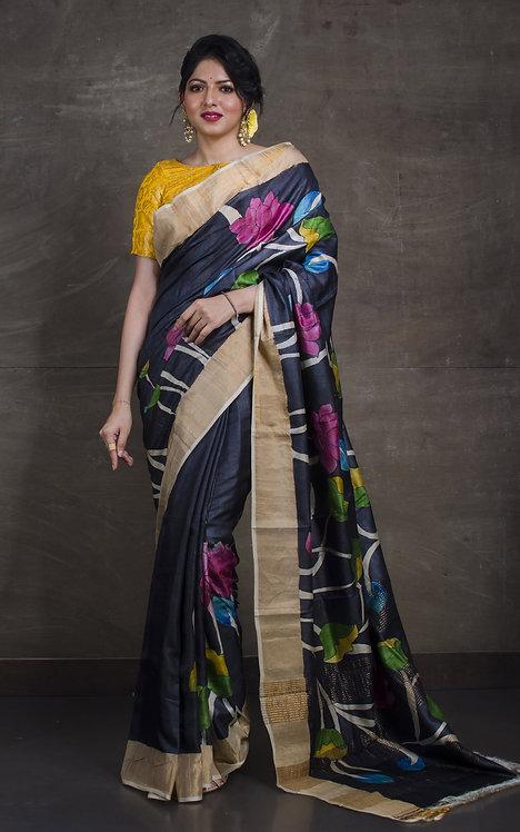 Kalamkari Printed Soft Tussar Saree in Charcoal Black and Gold