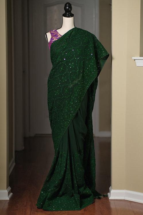 Designer Georgette Chikankari Saree in Bottle Green