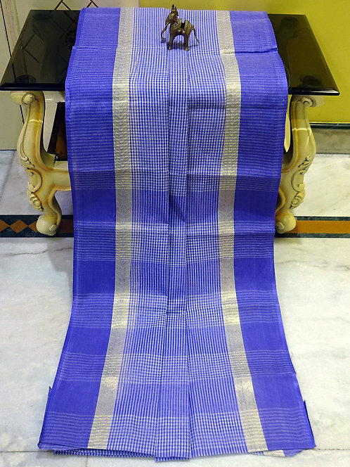 Bengal Handloom Cotton Micro Checks Saree with Starch in Orchid Blue and White