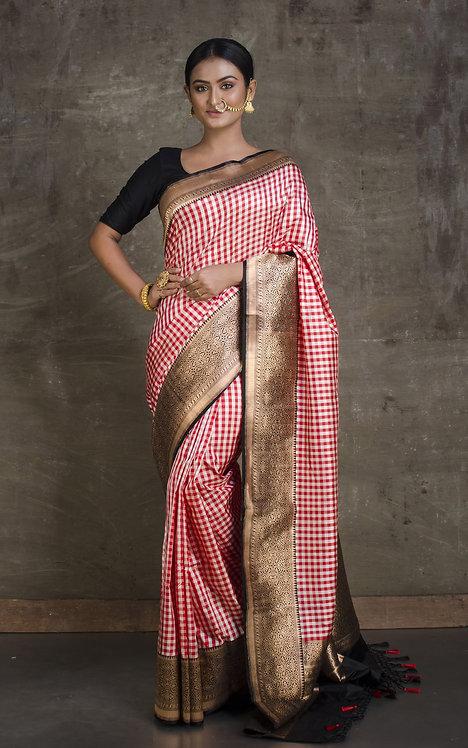 Pure Banarasi Checks Katan Silk Saree in White, Red and Black