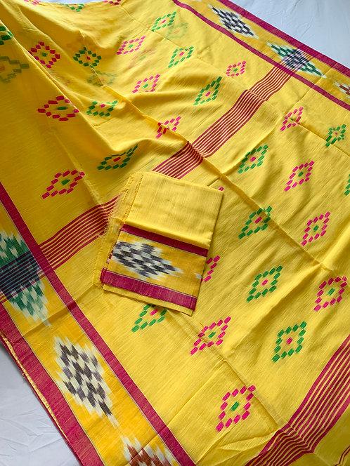 Kotki Border Soft Cotton Saree in Bright Yellow