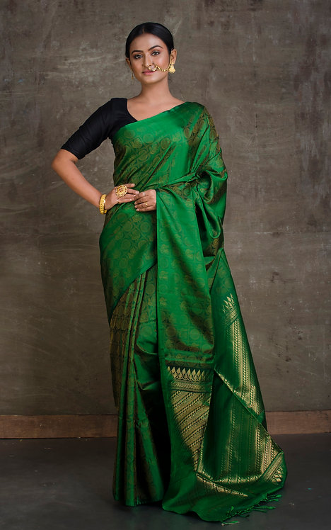 Soft Silk Kanchipuram Saree in Dark Green and Gold