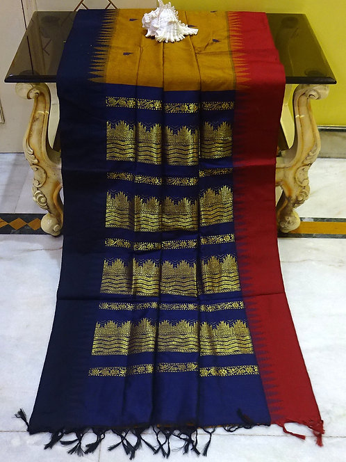 Soft South Cotton Gadwal Saree in Brown, Blue and Maroon