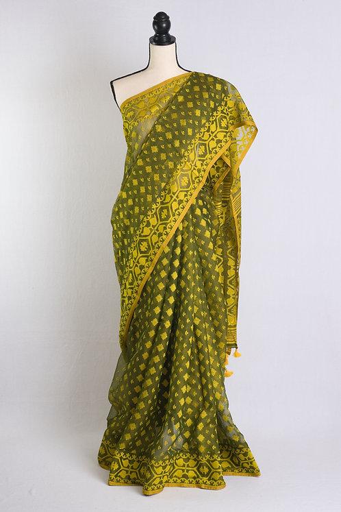 Soft Jamdani Saree in Moss Green and Yellow