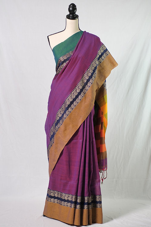 Blended Soft Cotton Saree in Violet, Green and Brown