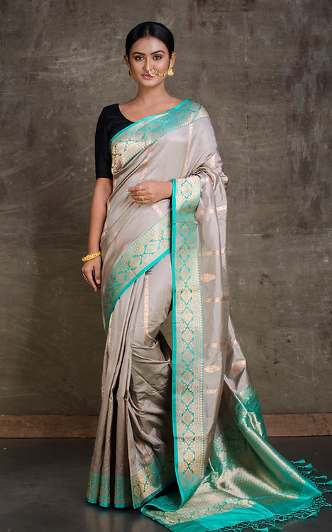 Pure Katan Banarasi Silk Saree in Gray, Sea Green and Gold