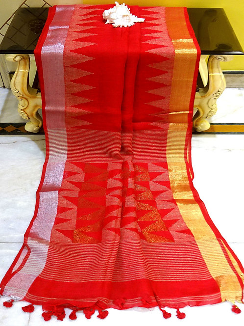 Temple Border Linen Saree with Gold and Silver Zari Border in Red