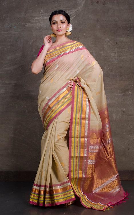 Pure Sico Gadwal Kuttu Saree in Beige and Peach
