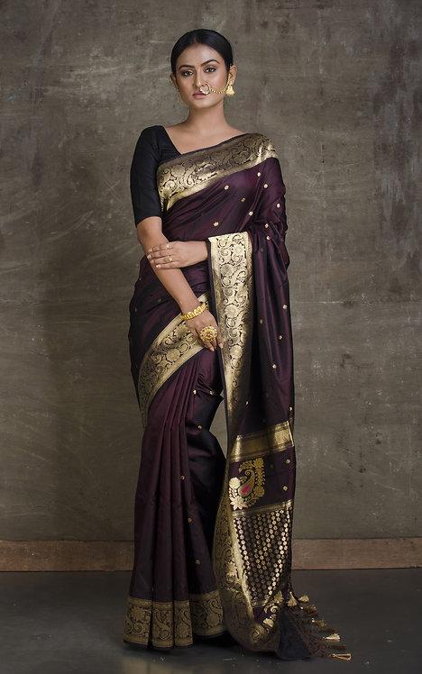 Pure Satin Silk Katan Banarasi Saree in Dark Plum and Gold
