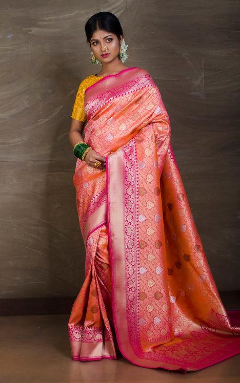 Semi Katan Brocade Banarasi Saree in Peach and Pink