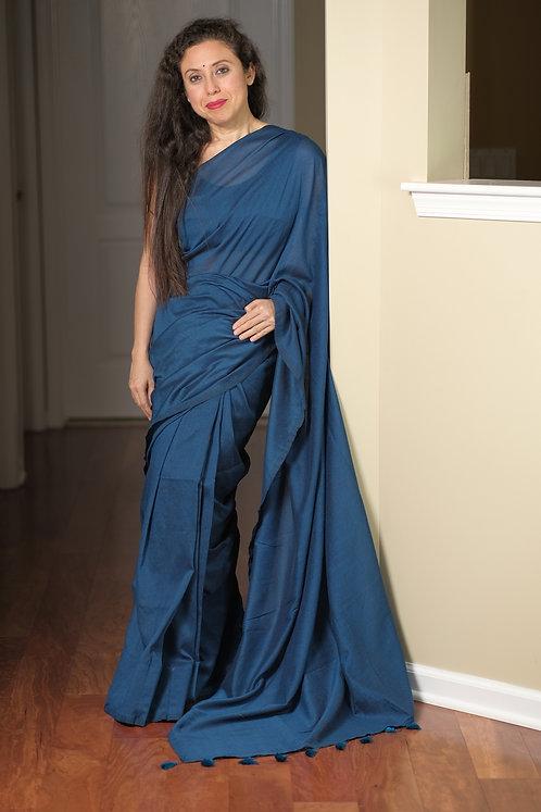 Soft Cotton Saree in Blue