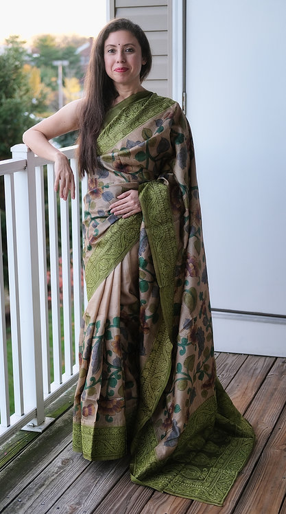 Hand Painted and Embroidered Kalamkari Saree in Beige and Green