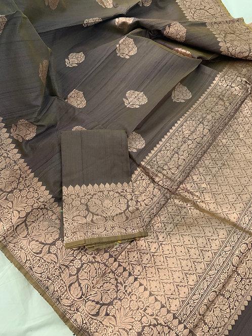 Pure Tussar Banarasi Saree in English Brown and Brushed Gold