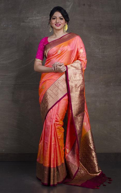 Pure Banarasi Silk Saree in Peachy Orange and Maroon