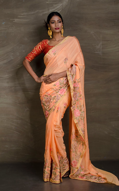 Crepe Silk Designer Party Wear Saree in Peach and Gold