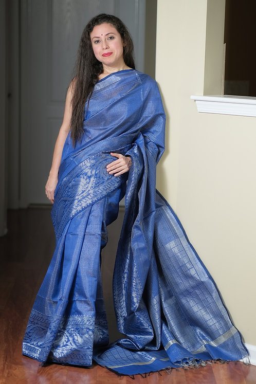 Semi Raw Silk Saree in Royal Blue and Silver
